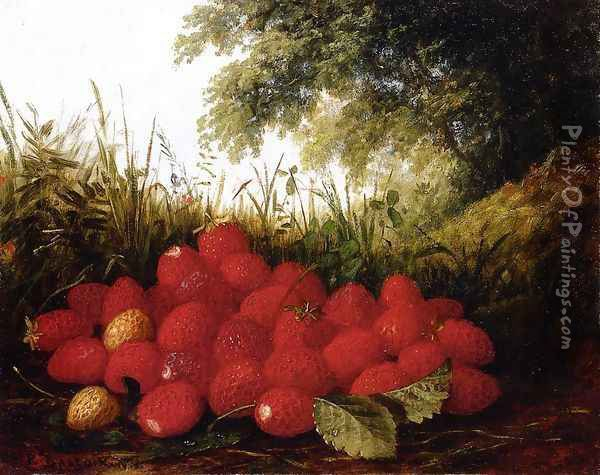 Strawberries in a Landscape Oil Painting - Paul Lacroix