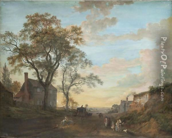 A Carriage And Figures Travelling The High Road Near An Inn Oil Painting - Paul Sandby