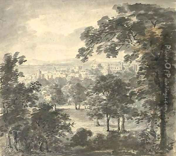 Windsor Castle from the Great Park Oil Painting - Paul Sandby