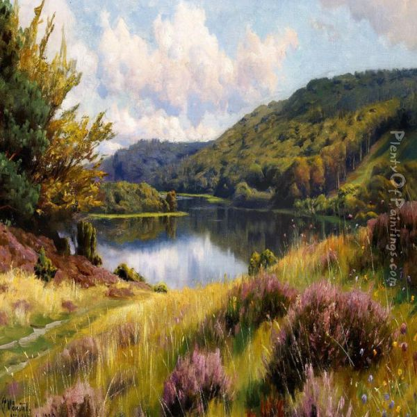 Heather Near A Lake, Summer Oil Painting - Peder Mork Monsted