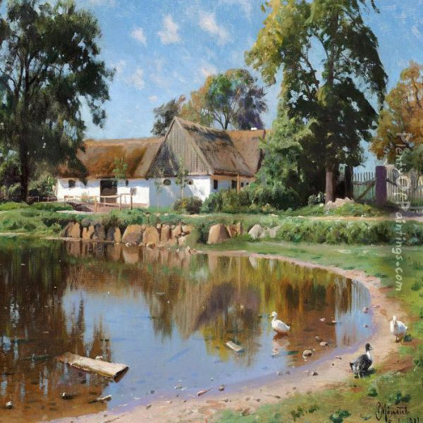The Village Pond In Thevillage Saeby Near Roskilde Oil Painting - Peder Mork Monsted