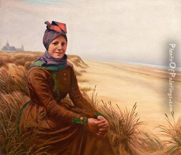 Girl By The Beach, Wearing The Traditional Fanoe Dress. Signed Riber 1912 Oil Painting - Peder Riber
