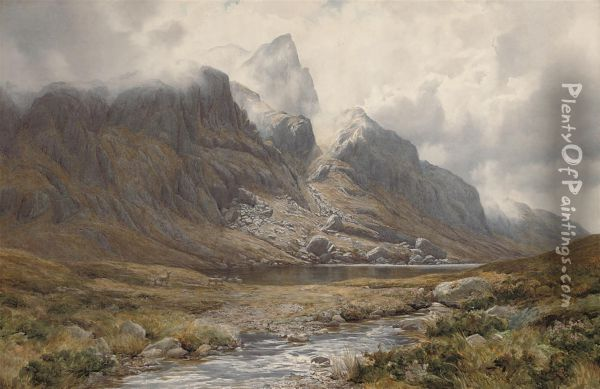 Deer Grazing Before The North Face Of Beinn Aridh Charr,ross-shire Oil Painting - Percy Dixon