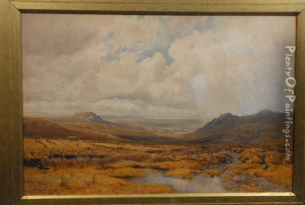 Haymaking, Extensive Moorland Landscape Oil Painting - Percy Dixon