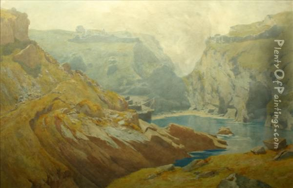 King Arthur'scastle, Tintagel Oil Painting - Percy Dixon