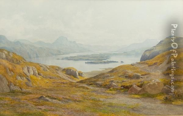 Loch Maree From Above Curree Bay Oil Painting - Percy Dixon