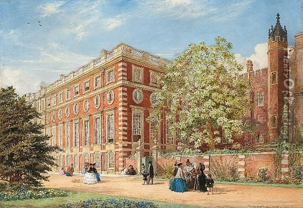 Hampton Court, Showing The Bignonia Catalpa Planted By The Mother Of The Duke Of Wellington, The Finest Tree Of The Kind In England Oil Painting - Percy Thomas Macquoid