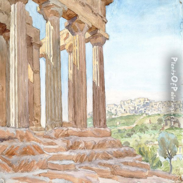 View From Agrigento, Sicily Oil Painting - Peter Marius Hansen
