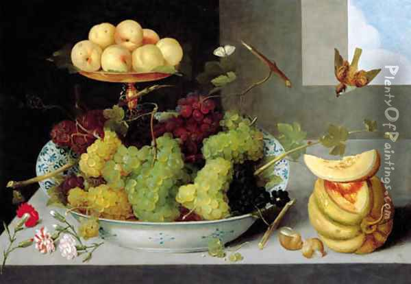 Grapes in a blue and white porcelain bowl with peaches on a gold tazza, with a melon, shells and carnations on a stone ledge Oil Painting - Peter Paul Binoit