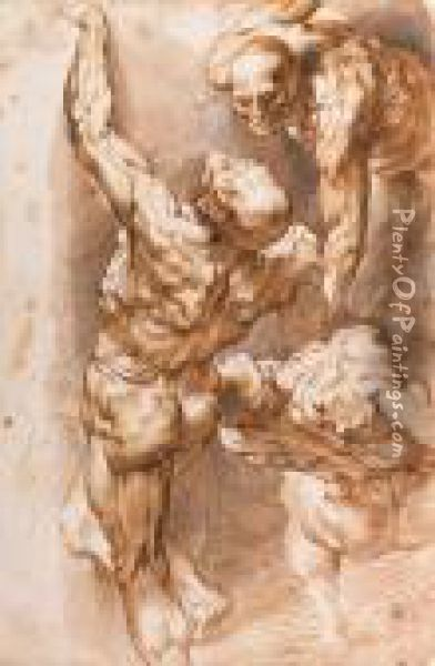 Anatomical Studies: Three Nudes Oil Painting - Peter Paul Rubens