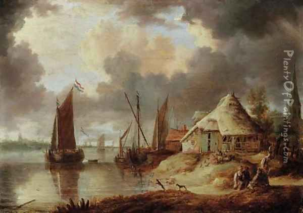 A river estuary with sailboats and peasants on a track near a thatched barn Oil Painting - Peter van den Velde