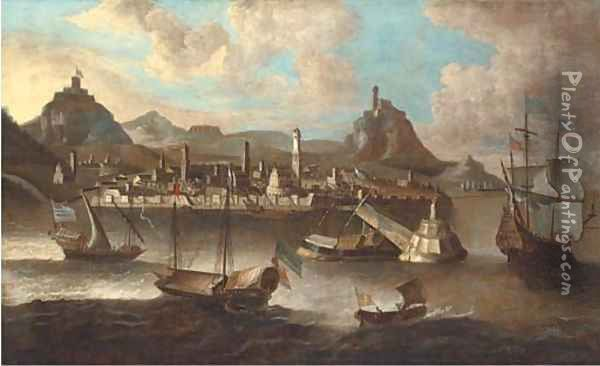 Mediterranean galeasses and an English man-o'war off a fortified Levantine port Oil Painting - Peter van den Velde