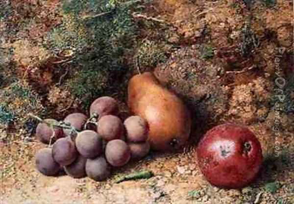 Grapes Apple and Pear on a Mossy Bank Oil Painting - Philip Dolan