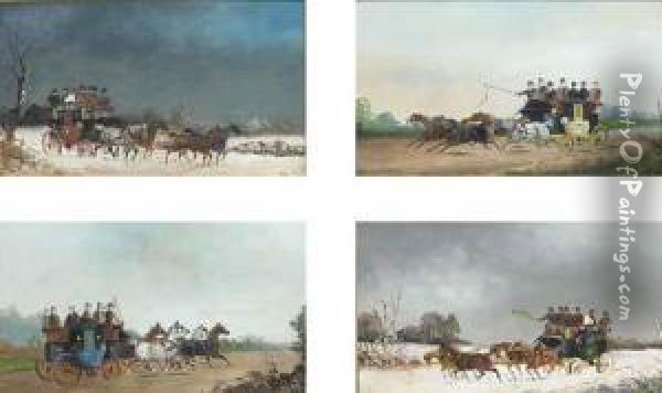 A Set Of Four Winter And Summer  Coaching Scenes; And A Set Of Fourracing And Coaching Scenes Oil Painting - Philip H. Rideout