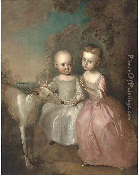 Double portrait of a boy and a girl in a landscape, full-length, with a greyhound, he in an oyster satin dress, she in a pink dress Oil Painting - Philipe Mercier