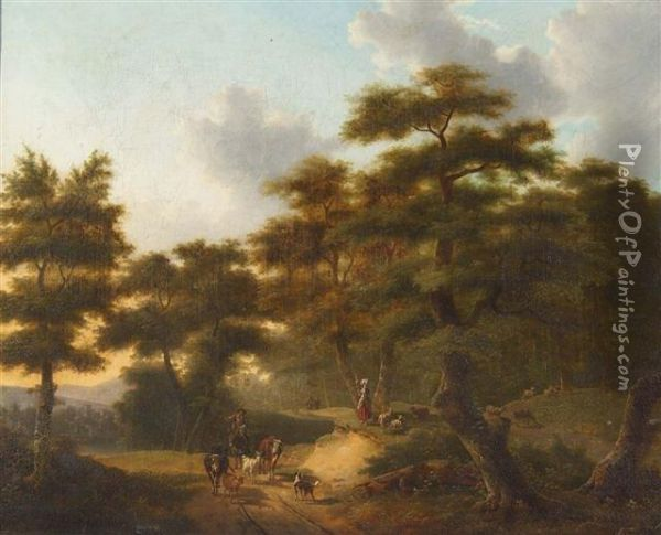 A Drover And Cattle On A Sunlit Pathway In A Wooded Landscape Oil Painting - Philippe Budelot