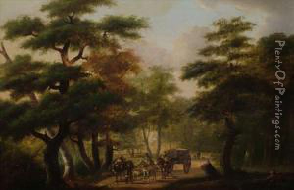 Figuresand Horse And Cart On A Woodland Road Oil Painting - Philippe Budelot