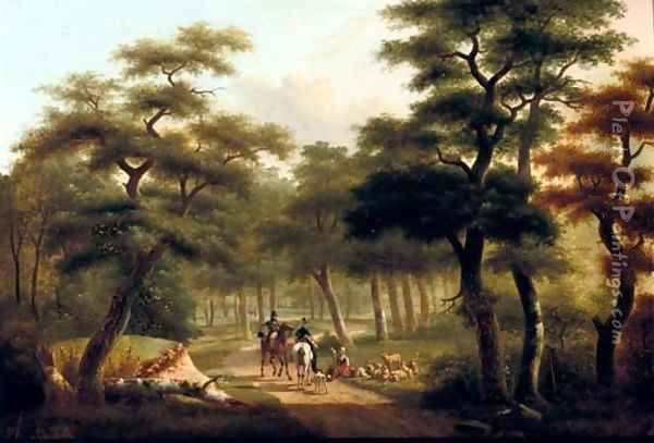 Horse riding in the forest Oil Painting - Philippe Budelot