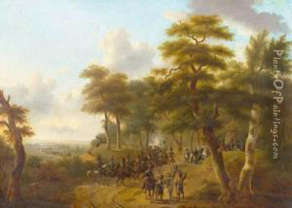 Scene From Napoleon's Campaign. Oil Painting - Philippe Budelot