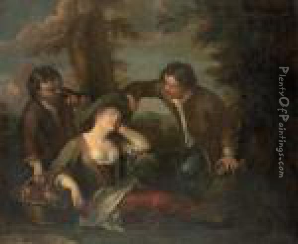 A Wooded Landscape With Boys Spying On A Sleeping Maiden Oil Painting - Philippe Mercier