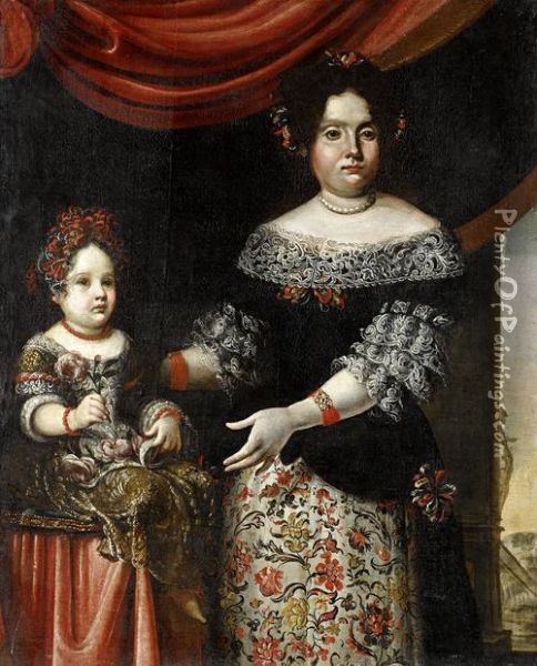 Portrait Of A Lady, Three-quarter-length, In An Embroidered Dress, Standing Before A Curtain With An Italianate Garden Beyond, Her Daughter Sitting On A Table Beside Her Oil Painting - Pier Francesco Cittadini Il Milanese