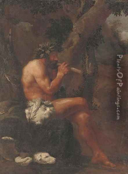 Pan playing his pipes in a wooded clearing Oil Painting - Pier Francesco Mola