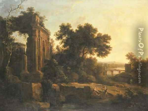 An Italianate landscape with classical ruins and figures conversing by a bridge Oil Painting - Pierre-Antoine Patel