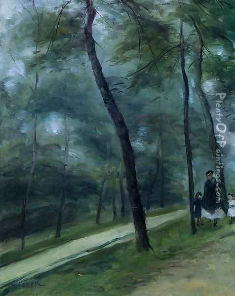 A Walk in the Woods (Madame Lecoeur and Her Children) Oil Painting - Pierre Auguste Renoir