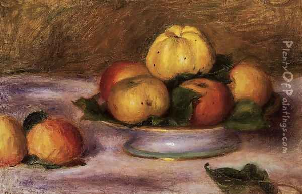 Apples On A Plate Oil Painting - Pierre Auguste Renoir