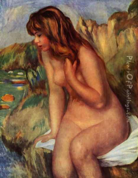 Bathers, sitting on a rock Oil Painting - Pierre Auguste Renoir
