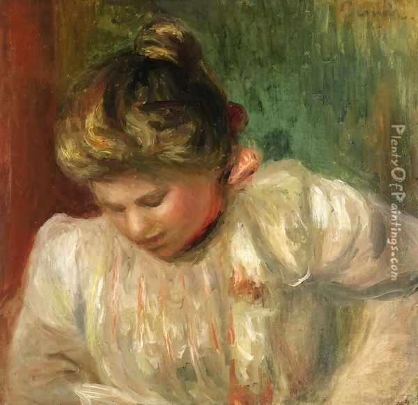 Bust of a Girl Oil Painting - Pierre Auguste Renoir