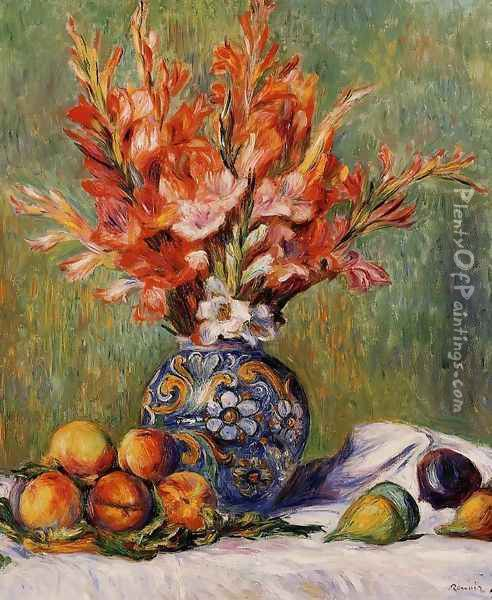 Flowers And Fruit Oil Painting - Pierre Auguste Renoir