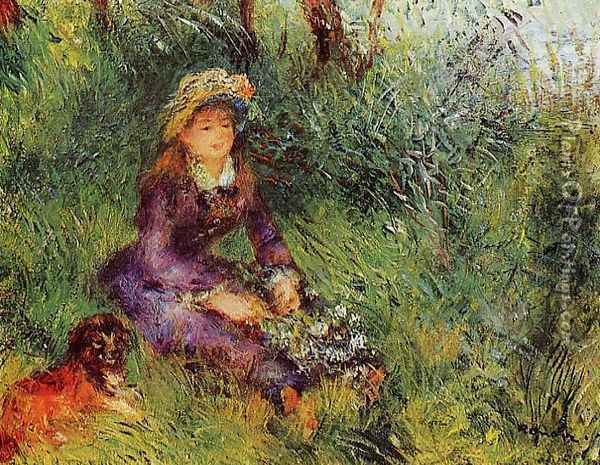 Madame Renoir With A Dog Oil Painting - Pierre Auguste Renoir