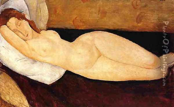 Reclining Nude Head Resting On Right Ar Nude Restin M Aka Nude On A Couch Oil Painting - Pierre Auguste Renoir