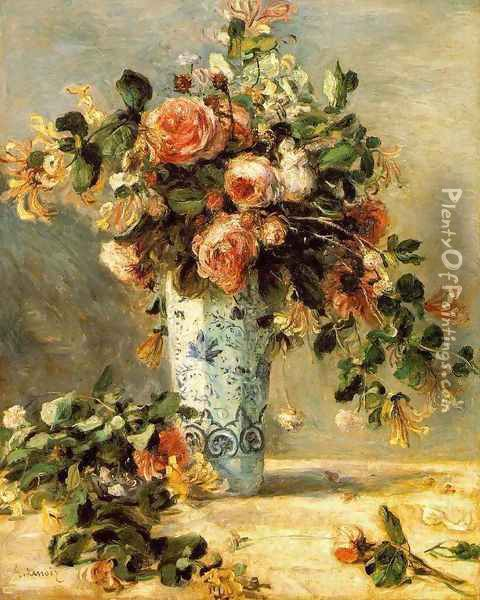 Roses And Jasmine In A Delft Vase Oil Painting - Pierre Auguste Renoir