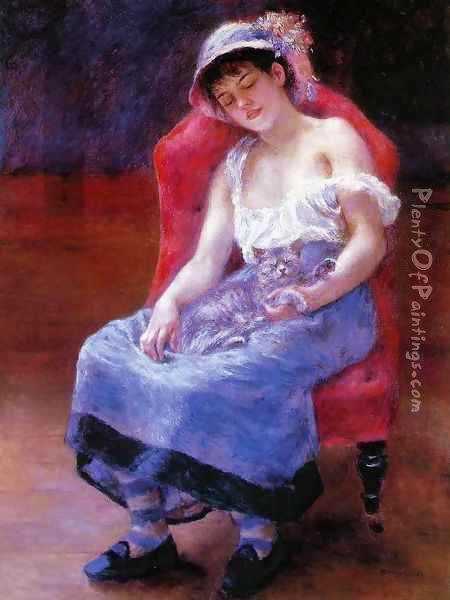 Sleeping Girl (Girl with a Cat) Oil Painting - Pierre Auguste Renoir
