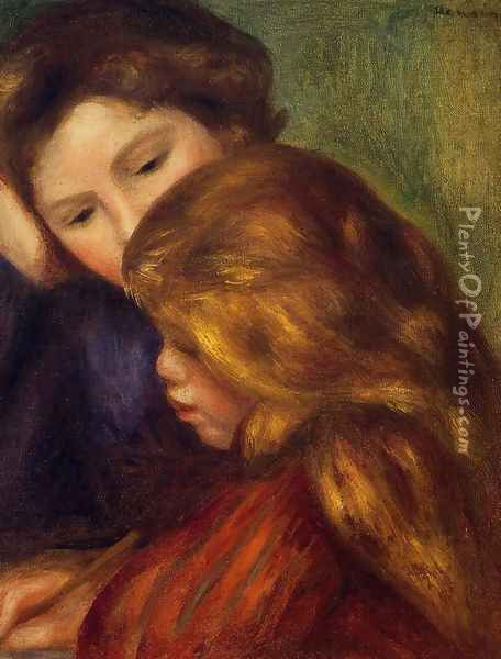 The Writing Lesson Oil Painting - Pierre Auguste Renoir