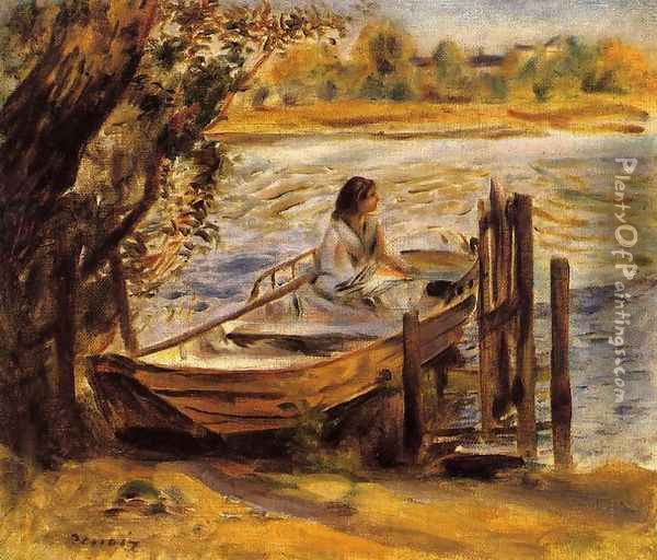 Young Woman In A Boat Aka Lise Trehot Oil Painting - Pierre Auguste Renoir