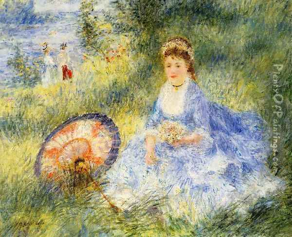 Young Woman With A Japanese Umbrella Oil Painting - Pierre Auguste Renoir