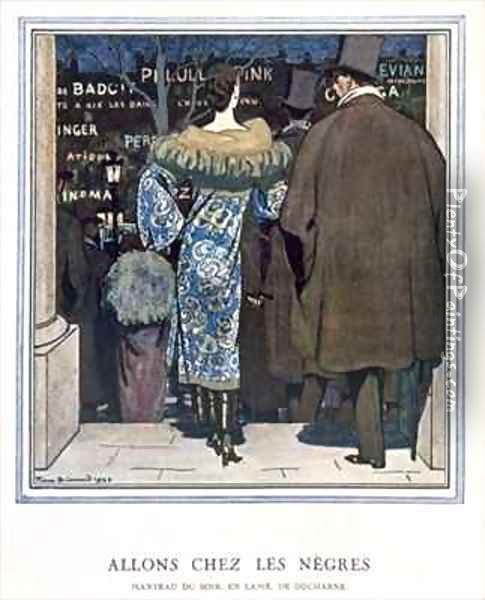 Going to the Cabaret, fashion plate depicting a Lame evening coat designed by Ducharne Oil Painting - Pierre Brissaud