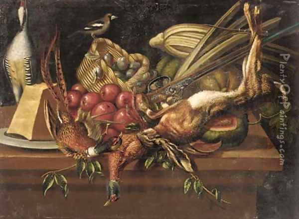 Pheasants, a dead hare and a shot-gun with plums in a basket, apples, cheese, pumpkins and other vegetables on a stone ledge Oil Painting - Pierre van BOUCLE (BOECKEL)