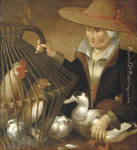 A woman holding a duck and a bird cage with chickens and a dove Oil Painting - Pieter Aertsen