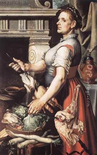 Cook in front of the Stove 1559 Oil Painting - Pieter Aertsen