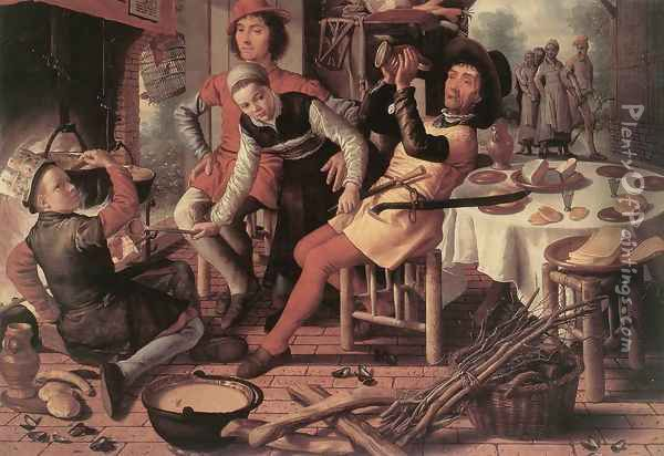 Peasants by the Hearth 1560 Oil Painting - Pieter Aertsen