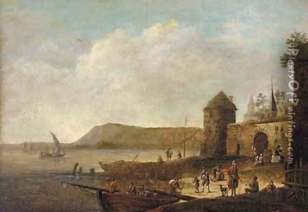 A coastal inlet with figures on the shore near a town Oil Painting - Pieter Bout