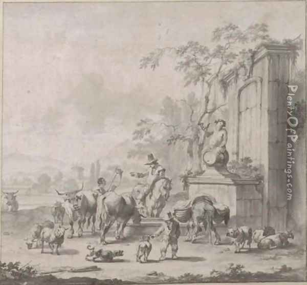 A landscape with herdsmen, sheep and cows around a fountain surmounted by a statue of Silenus Oil Painting - Pieter Bout