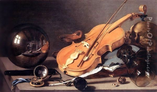 Vanitas with Violin and Glass Ball Oil Painting - Pieter Claesz.
