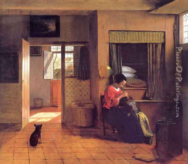 A Mother and Child with Its Head in Her Lap Oil Painting - Pieter De Hooch