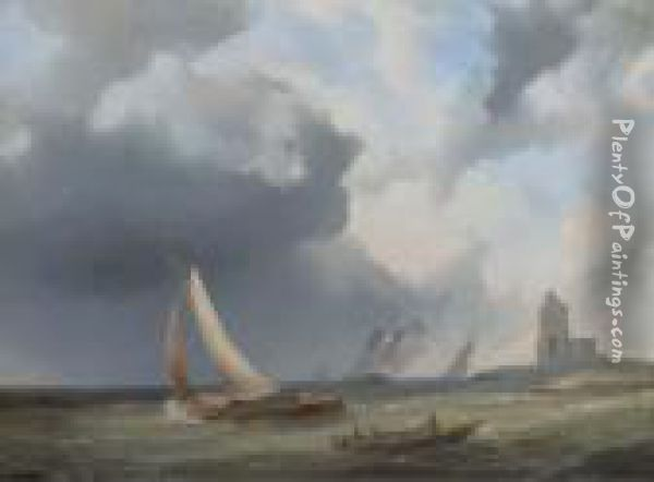 Sailingvessels On Choppy Water By A Coast Oil Painting - Pieter Hendrik Thomas