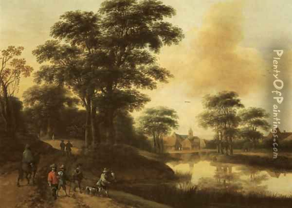A hunting party near a lake, a village in the distance Oil Painting - Pieter Jansz. van Asch